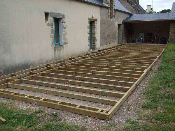 pose terrasse bois sur beton