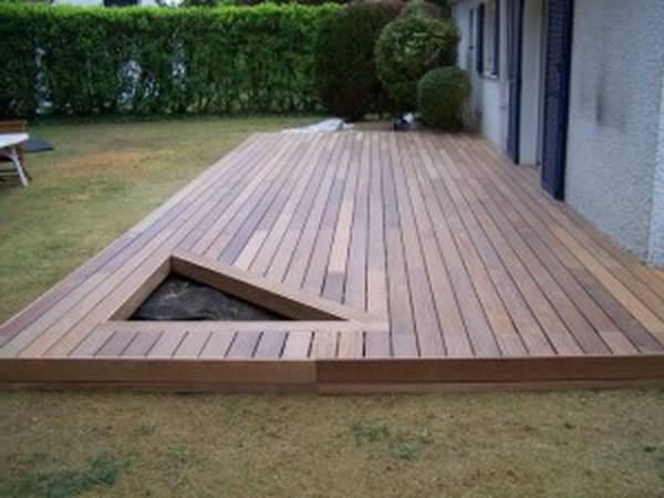 pose terrasse bois sur gravier